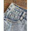 Ripped Frayed Hem Bleach Wash Jean Shorts - BLEACHED COLOR