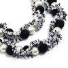 Faux Pearl Cloth Wrap Pendant Necklace - BLACK