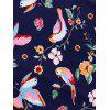 Midi Floral Bird Panel Vintage Dress - COLORMIX