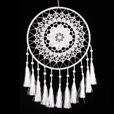 Dreamcatcher in nappa con fiore all'uncinetto