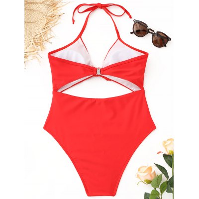 Cutout Halter High Cut SwimsuitLingerie &amp; Shapewear<br>Cutout Halter High Cut Swimsuit<br><br>Bra Style: Padded<br>Elasticity: Elastic<br>Embellishment: Hollow Out<br>Gender: For Women<br>Material: Nylon, Spandex<br>Neckline: Halter<br>Package Contents: 1 x Swimsuit<br>Pattern Type: Solid<br>Style: Sexy<br>Support Type: Wire Free<br>Swimwear Type: One Piece<br>Waist: Natural<br>Weight: 0.2300kg