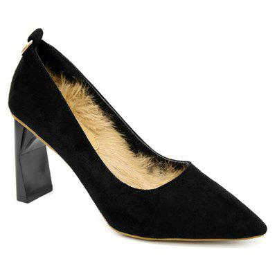 Detachable Furry Lining High Heel Pumps