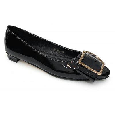 Patent Leather Buckled Toe Flats