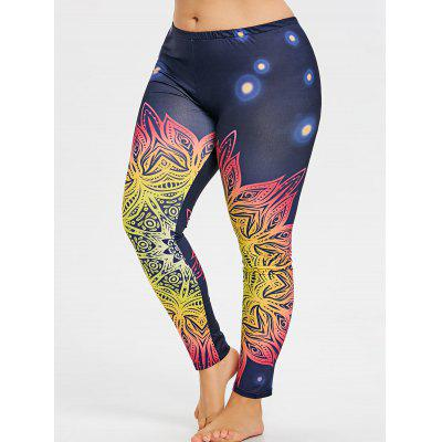 Plus Size Colored Pattern Yoga Leggings