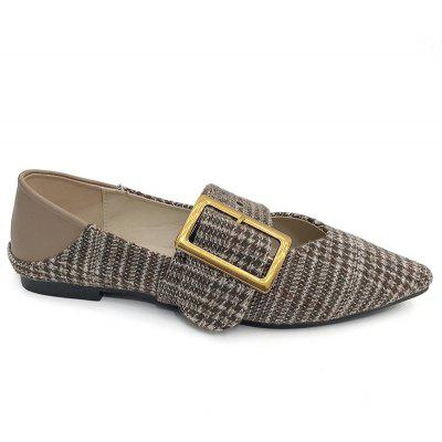 Point Toe Tweed Buckle Strap Flats