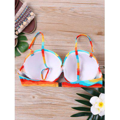 Rainbow Padded Swim BraLingerie &amp; Shapewear<br>Rainbow Padded Swim Bra<br><br>Bra Style: Padded<br>Gender: For Women<br>Material: Polyester, Spandex<br>Neckline: Spaghetti Straps<br>Package Contents: 1 x Swim Top<br>Pattern Type: Others<br>Support Type: Underwire<br>Swimwear Type: Swim Tops<br>Weight: 0.2000kg