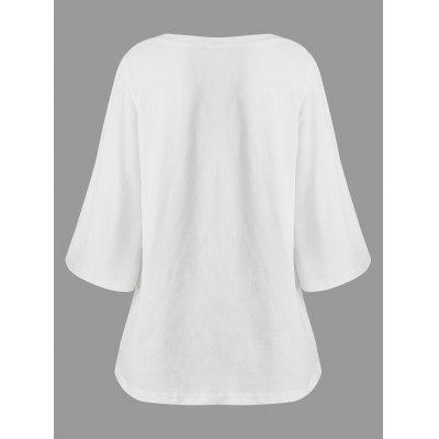 Plus Size Bell Sleeve Simple T-shirtPlus Size Tops<br>Plus Size Bell Sleeve Simple T-shirt<br><br>Collar: Boat Neck<br>Material: Cotton Blends, Polyester<br>Package Contents: 1 x Tee<br>Pattern Type: Solid<br>Season: Spring<br>Shirt Length: Regular<br>Sleeve Length: Three Quarter<br>Sleeve Type: Flare Sleeve<br>Style: Fashion<br>Weight: 0.3200kg