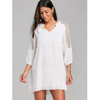 Openwork Lace Insert Mini Straight DressWomens Dresses<br>Openwork Lace Insert Mini Straight Dress<br><br>Dresses Length: Mini<br>Embellishment: Lace,Panel<br>Material: Polyester<br>Neckline: V-Neck<br>Occasion: Outdoor, Casual<br>Package Contents: 1 x Dress<br>Pattern Type: Solid Color<br>Season: Summer, Fall, Spring, Winter<br>Silhouette: Straight<br>Sleeve Length: 3/4 Length Sleeves<br>Sleeve Type: Raglan Sleeve<br>Style: Casual<br>Waist: Natural<br>Weight: 0.3100kg<br>With Belt: No