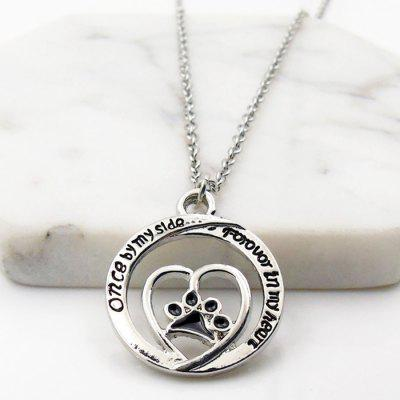Hollow Out Heart Paw Pendant Necklace