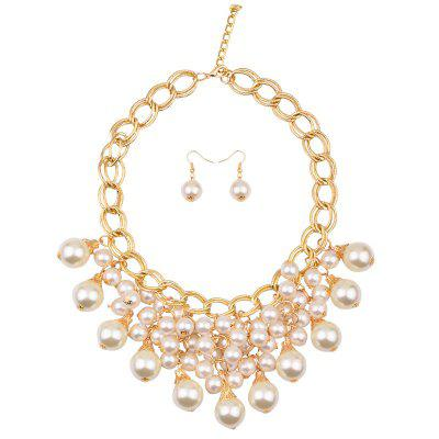 Artificial Pearl Statement Necklace and Earrings