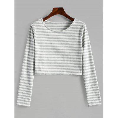 Round Collar Striped Crop Tee