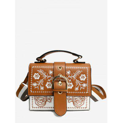 Flower Embroidery Color Blocking Crossbody Bag