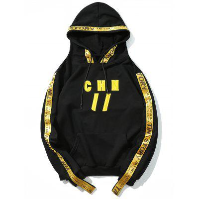 Ribbon Letter Embroidered Hoodie