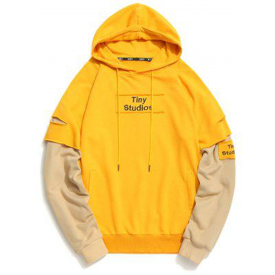 Patch Design Ripped Underlay Sleeve Hoodie