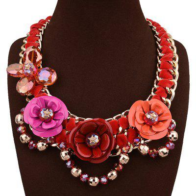 Faux Crystal Flower Beaded Chain Necklace