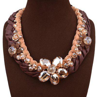 Statement Faux Leather Crystal Flower Necklace