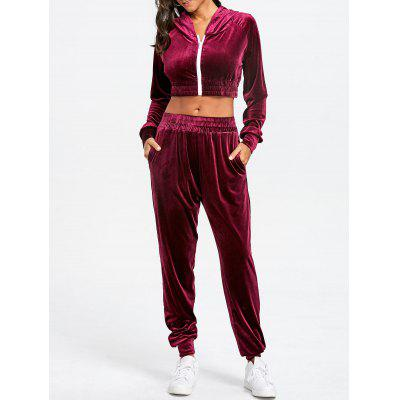 Velvet Cropped Hoodie with Jogger Pants