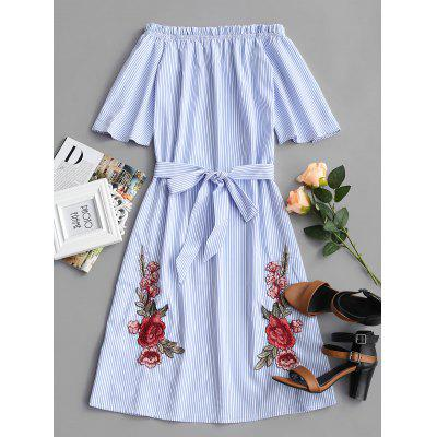Striped Flower Patched Belted Dress
