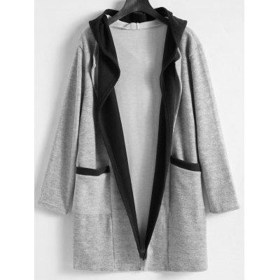 Buy Plus Size Faux Twinset Long Hooded Coat GRAY 4XL for $35.58 in GearBest store