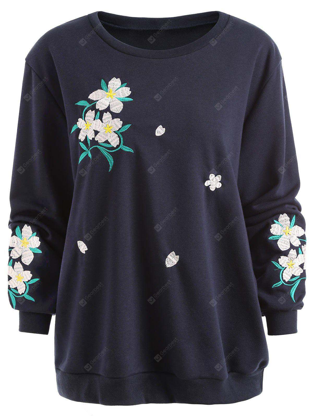 Flower Embroidered Plus Size Sweatshirt