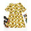 Round Collar Flower Print Mini Dress - YELLOW