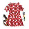 Round Collar Flower Print Mini Dress - RED