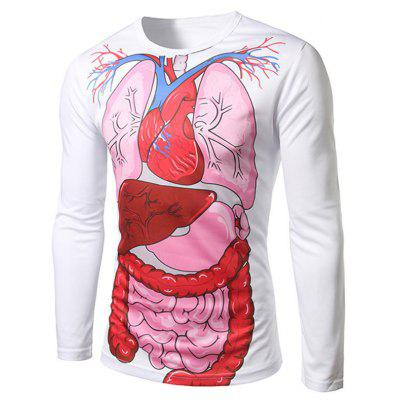 Gearbest Human organs white long sleeve t-shirt