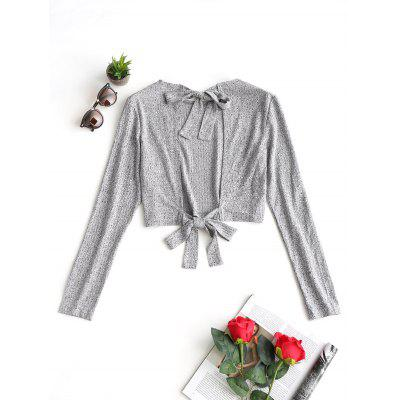 Open Back Tied Bowknot Cropped Knitwear