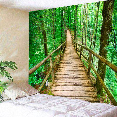 Spring Forest Wooden Walkway Print Wall Tapestry