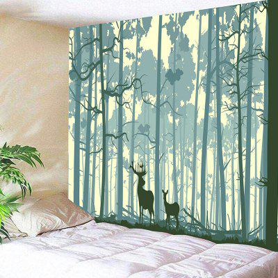 Forest Two Deer Pattern Wall Art Tapestry