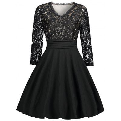 V Neck Lace Panel Fit and Flare Dress