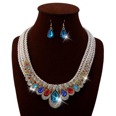 Vintage Rhinestone Inlay Embellished Faux Gem Necklace Earrings Set