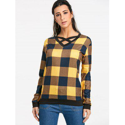 Criss Cross Plaid Long Sleeve TopBlouses<br>Criss Cross Plaid Long Sleeve Top<br><br>Collar: V-Neck<br>Material: Polyester<br>Package Contents: 1 x Top<br>Pattern Type: Plaid<br>Season: Fall, Spring<br>Shirt Length: Regular<br>Sleeve Length: Full<br>Style: Fashion<br>Weight: 0.2600kg