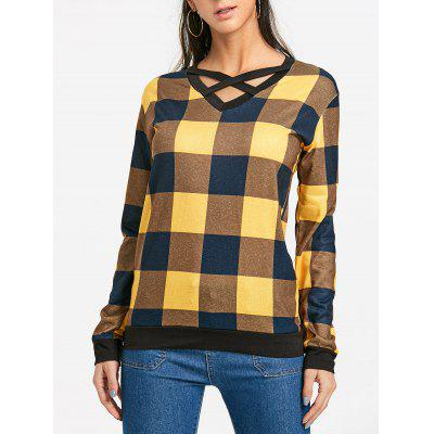 Criss Cross Plaid Long Sleeve Top