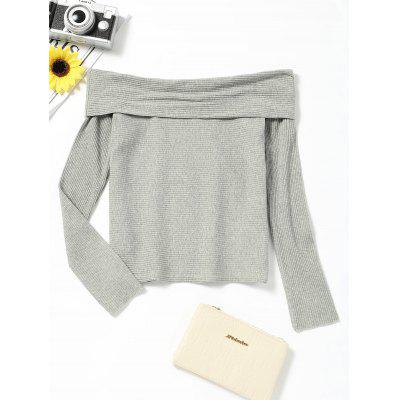 Off The Shoulder Long Sleeve Plain Tee