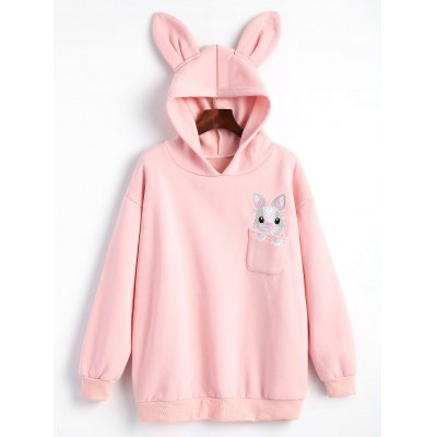 Rabbit Embroidered Oversized Hoodie