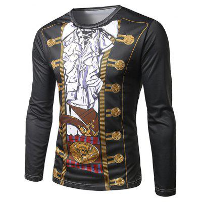 Gearbest Pirate costume black long sleeve t-shirt