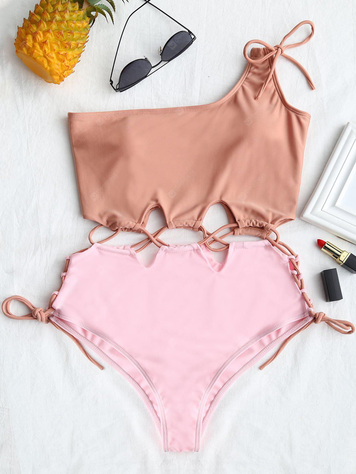 Two Tone Lace-up One Shoulder Swimsuit