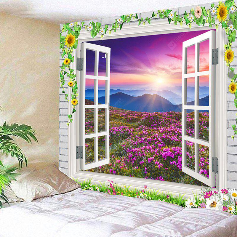 Window Scenery Flower Mountain Print Wall Art Tapestry
