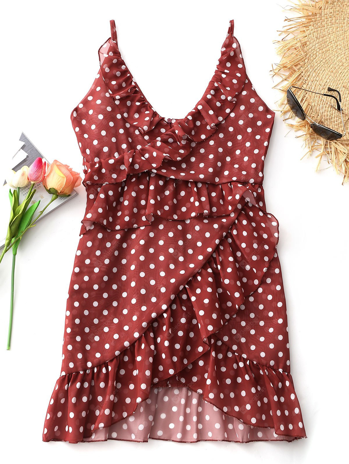Polka Dot Frills Overlap Mini Dress
