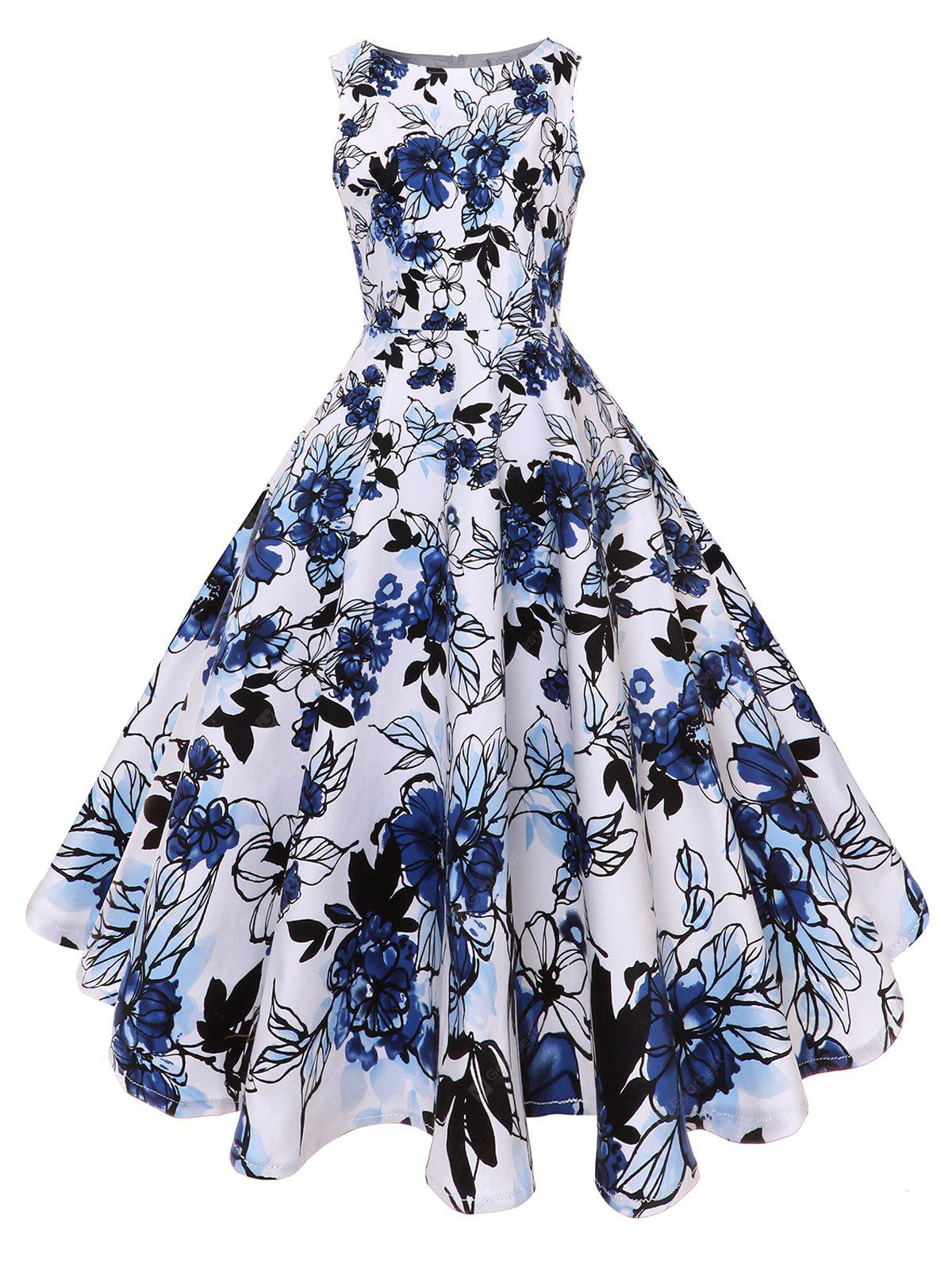 Fit and Flare Floral Vintage Midi Dress