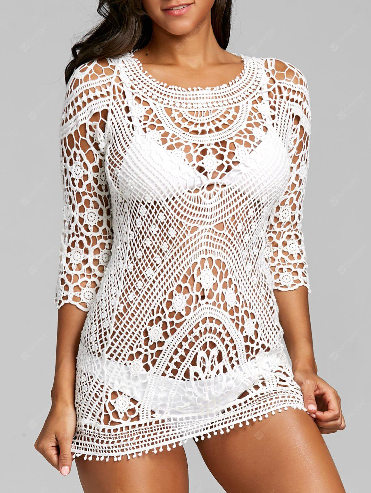 Hollow Out Crochet Flower Lace Cover Up