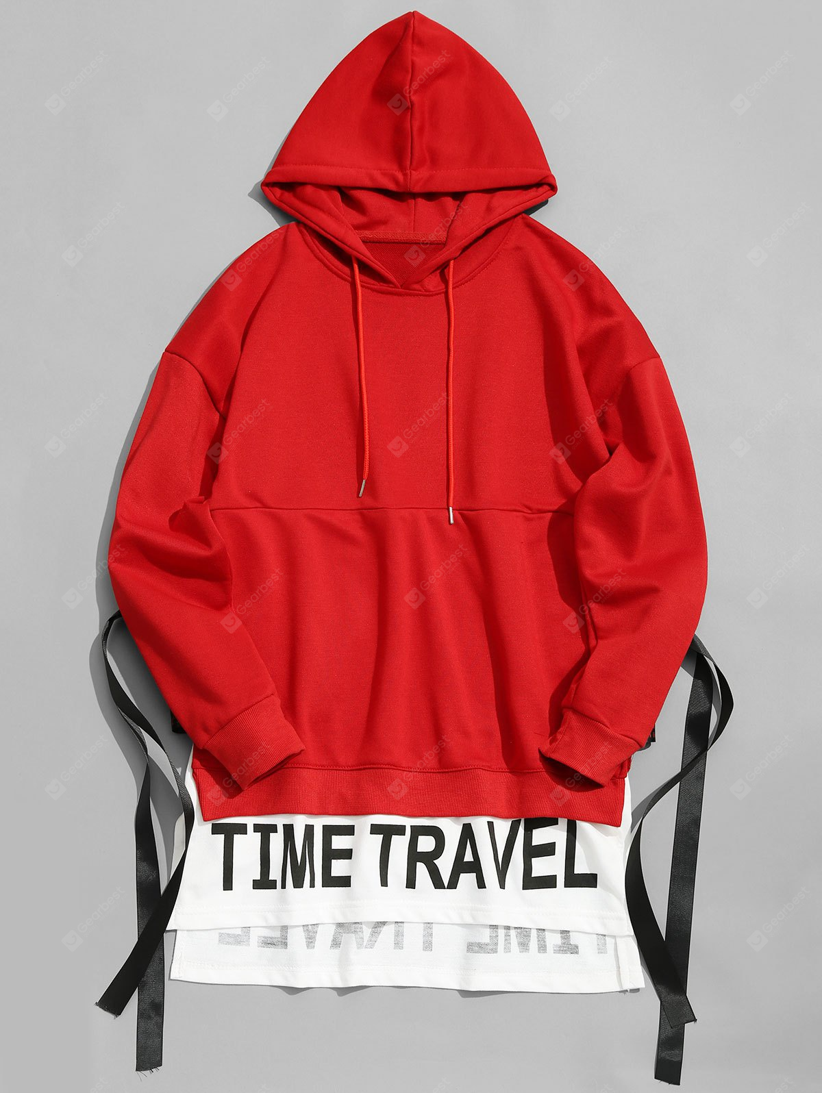 Time Travel Graphic Ribbon Hoodie
