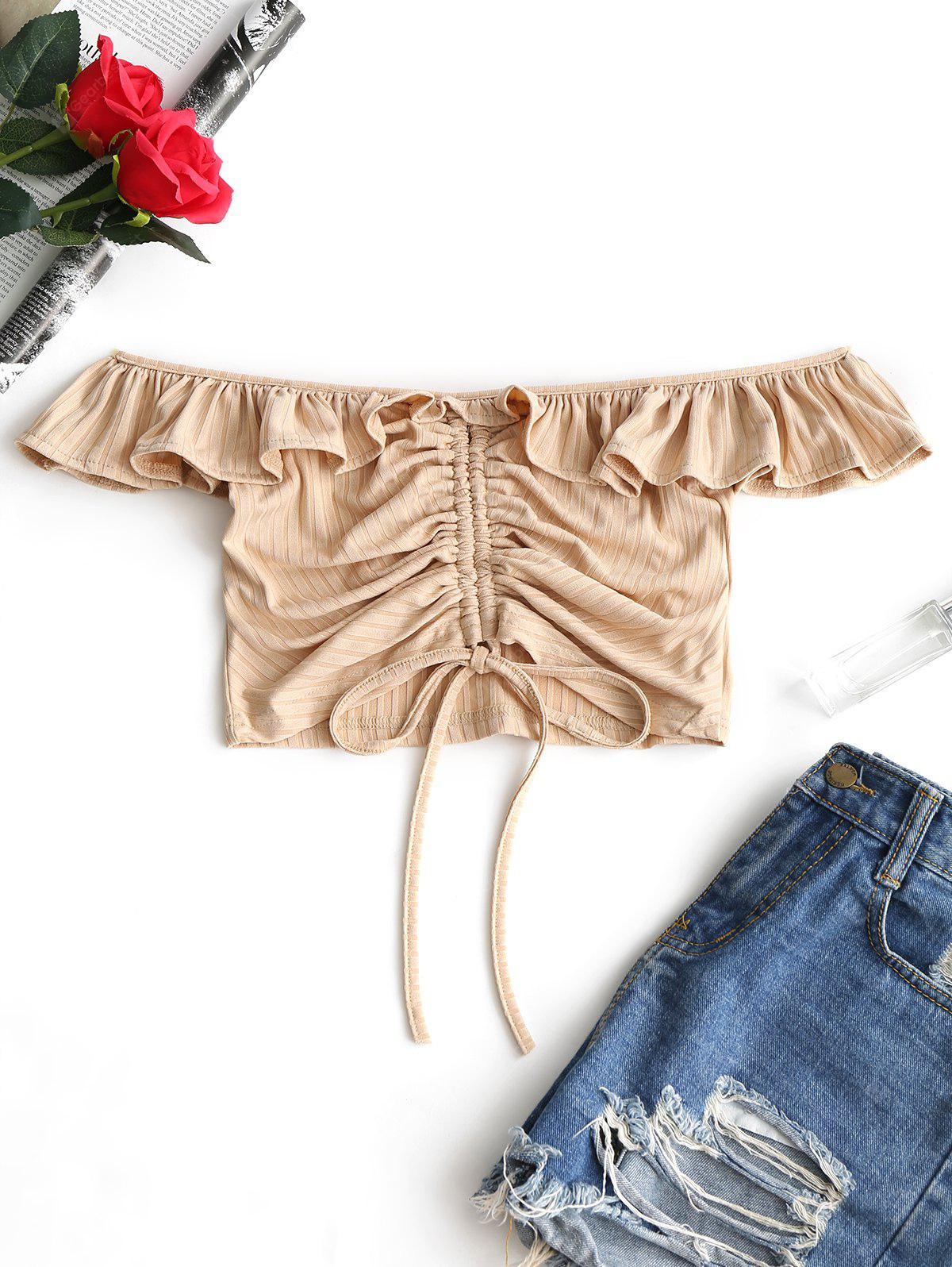 Off Shoulder Ruffled Ruched Crop Tee