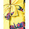 Plunging Neckline Bowknot Floral Print Blouse - YELLOW