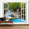 Wall Hanging Window Scenery Stream Print Tapestry - COLORMIX