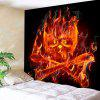 Pirate Flame Skull Print Wall Hanging Tapestry - BLACK