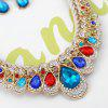 Vintage Rhinestone Inlay Embellished Faux Gem Necklace Earrings Set - COLORMIX