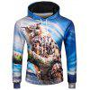 3D Owl Print Pullover Hoodie - COLORMIX