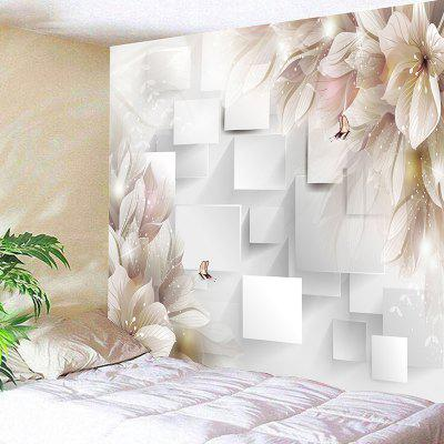 Flower Butterfly Square Pattern Wall Art Tapestry